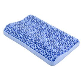 SNS話題 無重力 ジェルピロー 枕 立体構造 柔らかい 通気 寝心地 丸洗い 洗える 体圧分散 寝具 カバー付き (ブルー)