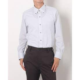 ビズポロ 形態安定ノーアイロン ボタンダウン 長袖ビジネスニットワイシャツ (ライトグレー)