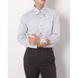 形態安定ノーアイロン マイターボタンダウン 長袖ビジネスワイシャツ (ライトグレー)