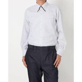 形態安定ノーアイロン マイターボタンダウン 長袖ビジネスワイシャツ (ブルー)
