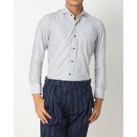 ビズポロ 形態安定ノーアイロン ホリゾンタルワイド 長袖ビジネスニットワイシャツ (ネイビー)