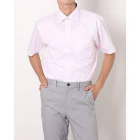 形態安定ノーアイロン ワイド 半袖ビジネスワイシャツ (ライトピンク)