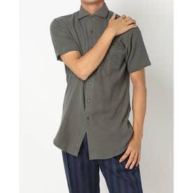 形態安定ノーアイロン イージーケア パイル地 ホリゾンタルワイド 半袖ビジネスワイシャツ (ダークカーキ)