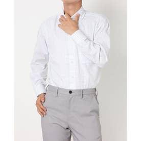 形態安定ノーアイロン ホリゾンタルワイド 長袖ビジネスワイシャツ (ホワイト)