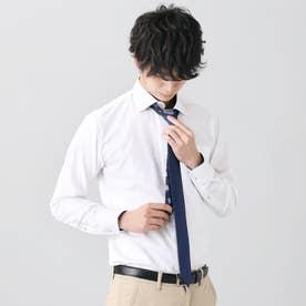 【Disney ディズニー】形態安定ノーアイロン ラウンド 長袖ビジネスワイシャツ (ホワイト)