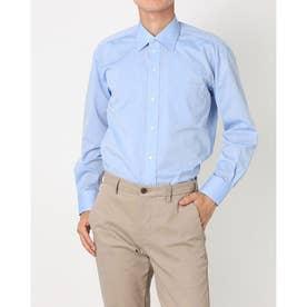 形態安定ノーアイロン ワイド 長袖ビジネスワイシャツ (ブルー)