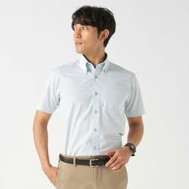 【Disney ディズニー】形態安定ノーアイロン ボタンダウン 半袖ビジネスシャツ (ライトグリーン)