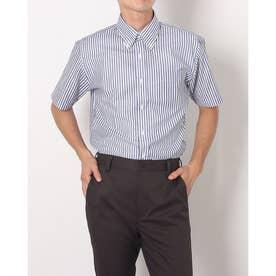 形態安定ノーアイロン からみ織 ボタンダウン 半袖ビジネスワイシャツ (ネイビー)