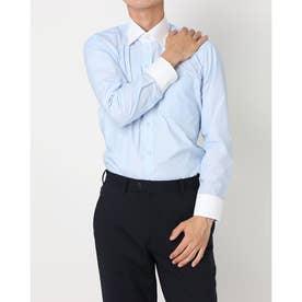 形態安定ノーアイロン クレリックワイド 長袖ビジネスワイシャツ (ライトブルー)