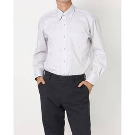 形態安定ノーアイロン ボタンダウン 長袖ビジネスワイシャツ (ライトグレー)