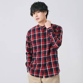 スタンド衿 綿100% チェック柄長袖カジュアルシャツ (レッド)