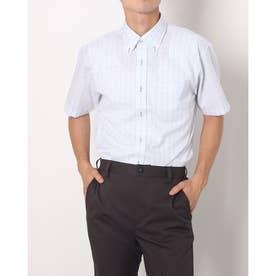 形態安定ノーアイロン ボタンダウン 半袖ビジネスワイシャツ (ライトブルー)