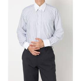 ビズポロ 形態安定ノーアイロン クレリックレギュラー 長袖ビジネスニットワイシャツ (ネイビー)