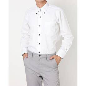 形態安定ノーアイロン ドゥエボットーニボタンダウン 長袖ビジネスワイシャツ (ホワイト)