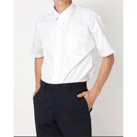 形態安定ノーアイロン スナップダウン 半袖ビジネスワイシャツ (ホワイト)