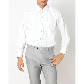 形態安定ノーアイロン ワイド 長袖ビジネスワイシャツ (ホワイト)