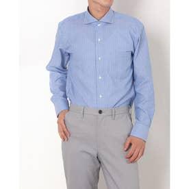 形態安定ノーアイロン ホリゾンタルワイド 長袖ビジネスワイシャツ (ブルー)
