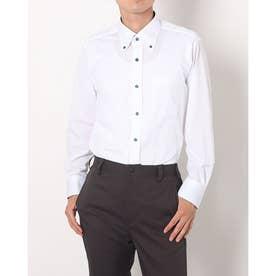 ビズポロ 形態安定ノーアイロン ボタンダウン 長袖ビジネスニットワイシャツ (ホワイト)