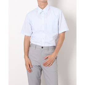 形態安定ノーアイロン ボタンダウン 半袖ビジネスワイシャツ (サックスブルー)