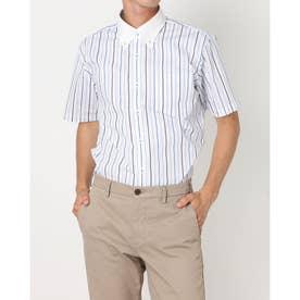 形態安定ノーアイロン クレリックボタンダウン 半袖ビジネスワイシャツ (ブルー)