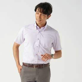 【Disney ディズニー】形態安定ノーアイロン ボタンダウン 半袖ビジネスシャツ (ライトパープル)