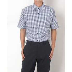 形態安定ノーアイロン ボタンダウン 半袖ビジネスワイシャツ (ネイビー)