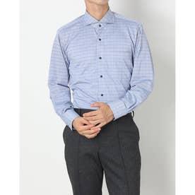 ビズポロ 形態安定ノーアイロン ホリゾンタルワイド 長袖ビジネスニットワイシャツ (ブルー)