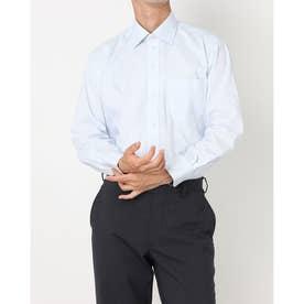 形態安定ノーアイロン ワイド 長袖ビジネスワイシャツ (ライトブルー)