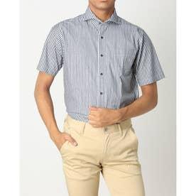 ビズポロ 形態安定ノーアイロン ホリゾンタルワイド 半袖ビジネスニットワイシャツ (ネイビー)