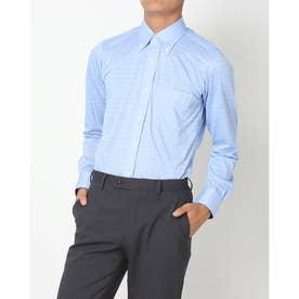 ビズポロ 形態安定ノーアイロン ボタンダウン 長袖ビジネスニットワイシャツ (ブルー)