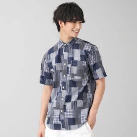 ショートワイド パッチワーク カジュアル半袖シャツ (ネイビー)