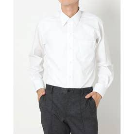 形態安定ノーアイロン レギュラーカラー 白無地ベーシック 長袖ビジネスワイシャツ (ホワイト)