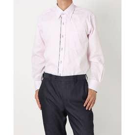 形態安定ノーアイロン スナップダウン 長袖ビジネスワイシャツ (ライトピンク)