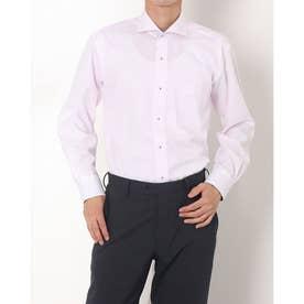 形態安定ノーアイロン ホリゾンタルワイド 長袖ビジネスワイシャツ (ライトピンク)