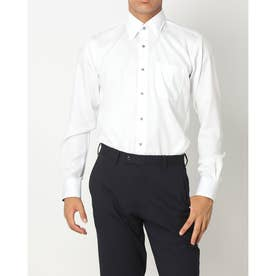 形態安定ノーアイロン スナップダウン 長袖ビジネスワイシャツ (ホワイト)