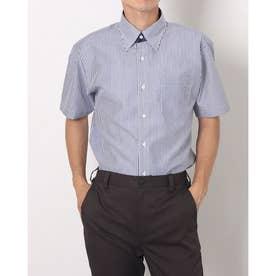 形態安定ノーアイロン スナップボタン 半袖ビジネスシャツ (ネイビー)