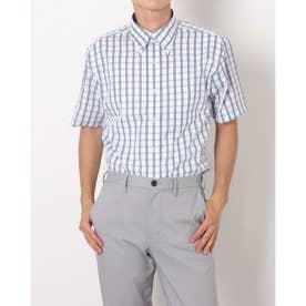 形態安定ノーアイロン ドゥエボットーニボタンダウン 半袖ビジネスワイシャツ (ネイビー)