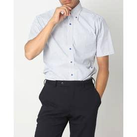 形態安定ノーアイロン ボタンダウン 半袖ビジネスワイシャツ (ブルー)