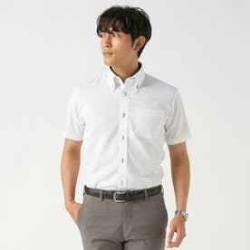 【Disney ディズニー】形態安定ノーアイロン ボタンダウン 半袖ビジネスシャツ (ホワイト)