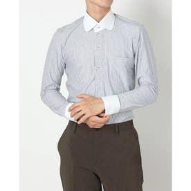 ビズポロ 形態安定ノーアイロン クレリックラウンド 長袖ビジネスニットワイシャツ (ネイビー)