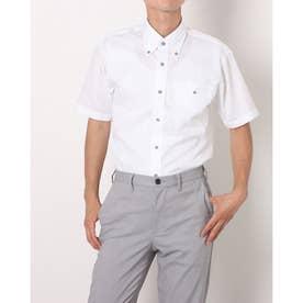 形態安定ノーアイロン ポケクロ ボタンダウン 半袖ビジネスワイシャツ (ホワイト)
