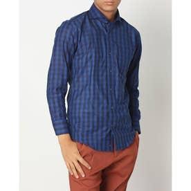 形態安定ノーアイロン からみ織 ホリゾンタルワイド 長袖ビジネスワイシャツ (ダークブルー)