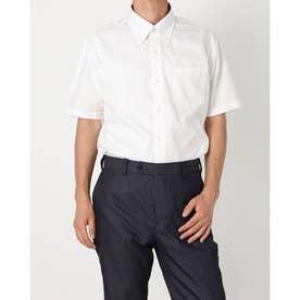 形態安定ノーアイロン ボタンダウン 半袖ビジネスワイシャツ (ベビーピンク)