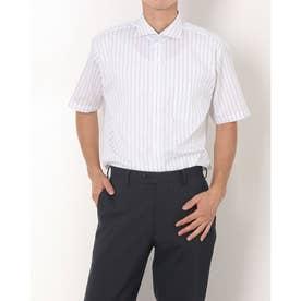 形態安定ノーアイロン ホリゾンタルワイド 半袖ビジネスワイシャツ (ライトグレー)