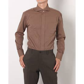 形態安定ノーアイロン ホリゾンタルワイド 長袖ビジネスワイシャツ (ブラウン)