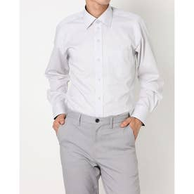 形態安定ノーアイロン ワイド 長袖ビジネスワイシャツ (ライトグレー)