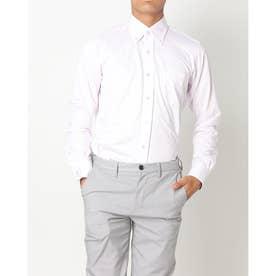 ビズポロ 形態安定ノーアイロン ボタンダウン 長袖ビジネスニットワイシャツ (ライトピンク)