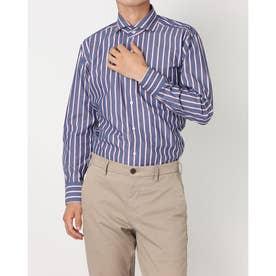 形態安定ノーアイロン ホリゾンタルワイド 長袖ビジネスワイシャツ (ネイビー)