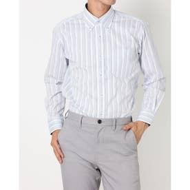 形態安定ノーアイロン ボタンダウン 長袖ビジネスワイシャツ (ブルー)