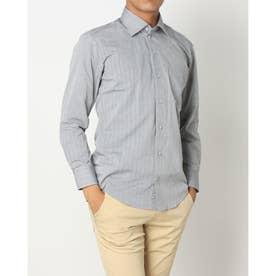 形態安定ノーアイロン ワイドカラー 長袖ビジネスワイシャツ (杢グレー)